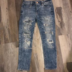 AE Distressed Ankle Jeans